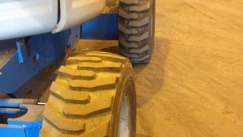 The wheel condition on the Genie Z45/25 IC 2WD we have for sale.
