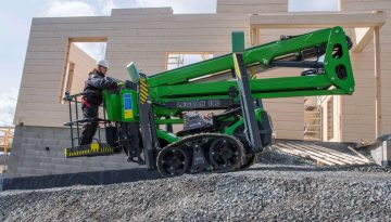 The Leguan 190 access platform being moved to a new location.