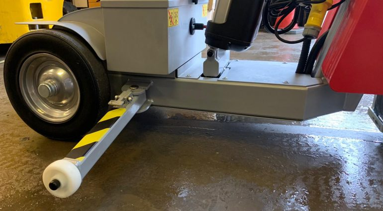 Chassis outriggers help prevent the robot tipping over.