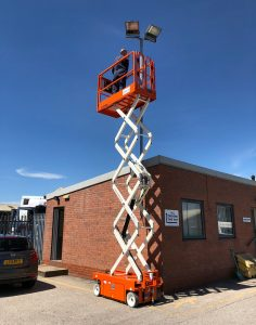 A scissor lift out on hire.