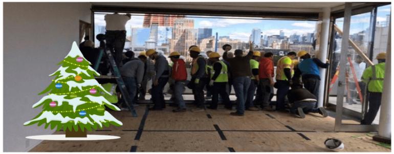 Glazing installation workers.