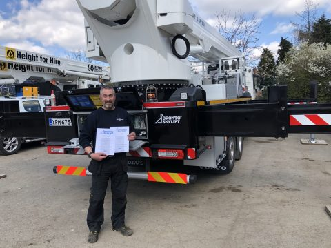 Lee Swift receiving his Bronto Skylift training certificates.