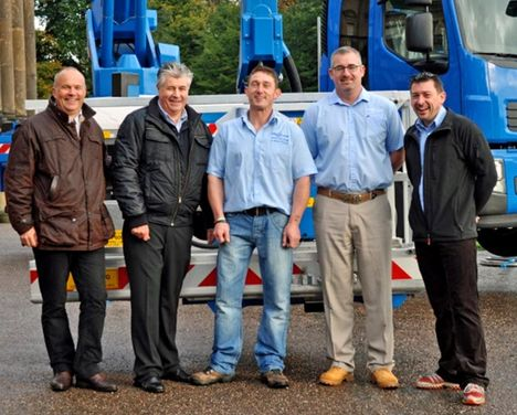 Ian James of Bronto and Alan Cowper of Nordic Access with Neil Burton, Nick Childs and John Burton of CPS Lift.