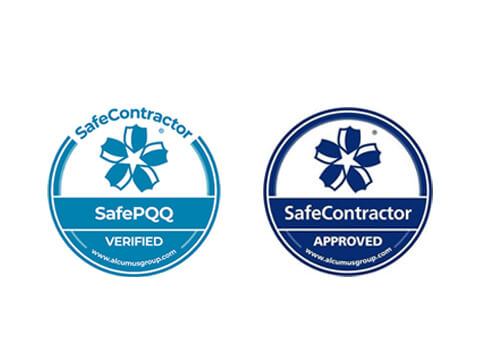 Safe Contractor Approved & Safe Contractor SafePQQ logos.